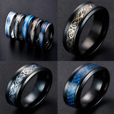 8mm Tungsten Carbide Carbon Fiber Ring Celtic Dragon Design Mens Jewelry