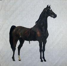 TEX EX ORIGINAL HACKNEY HORSE BAY BROWN PONY CUSHION PANEL LINEN EQUESTRIAN
