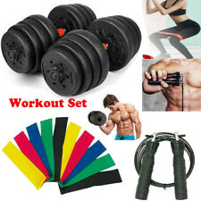 Weight Dumbbell + Resistance Band + Jump Rope Fitness GYM Barbell Plates Workout