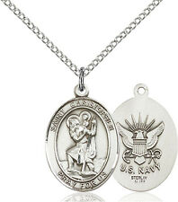 925 Sterling Silver St Christopher Navy Military Soldier Catholic Medal Necklace