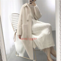 Womens Cashmere Mink Fur Loose Long Cardigan Coat Trench Outwear Jacket Pocket