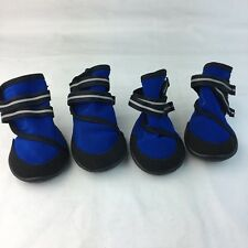 """Pet Boots Blue 3"""" Inches M Hiking Paw Protection  Set of 4 Wrap Hook and Loop"""