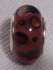 Purple Maroon Brown Pattern Murano Glass Bead for Silver European Charm Bracelet