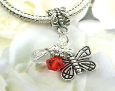 Red Crystal Butterfly Dangle Charm made with Swarovski Elements European Style