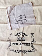 Set of 2 Hand Silkscreen Cotton French PARIS FLEA MARKET Fabric Linens Pillow
