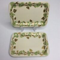 Vintage Social Supper Trays 3 Set Painted Tin Tidbit Snack Cream Green Gold