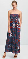 Next Maxi Dress in Navy Blue Red Abstract Floral Bandeau Size 8 10 12 14 16 (A4)