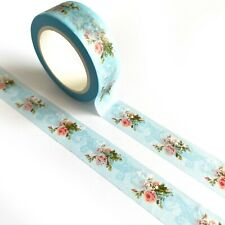 Blue Floral Pretty Paper Washi Tape - 15mm x 10m - Stationery Craft Journalling