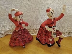 Vintage Pair Scottish Celtic Boy & Girl Dancers Ceramic Holland Mold Co....