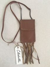 NWT Cleobella Fringe Cross Body Clutch Pouch Color: Tan
