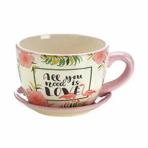 Pink Flamingo Teacup Planter - NIB
