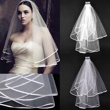 White Ivory 2t Bridal Wedding Veil with Comb, Elbow length, Satin Edge