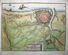 Ostende in Belgien - Plan der Belagerung 1706 - Von Merian - Original von 1718