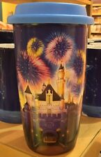 DISNEYLAND PRINCESS AURORA'S CASTLE CERAMIC TRAVEL MUG CUP + RUBBER LID NEW