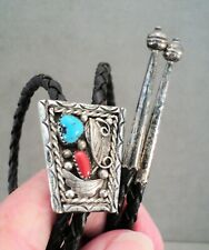 Vtg Navajo STERLING Silver TURQUOISE & CORAL BOLO TIE Leather Ties STERLING TIPS