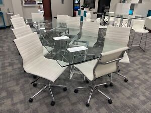 Custom 8ft Glass Modern Contemporary Confrence Table