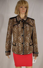 Anne Klein Size 14 Brown Cheetah Animal Print Faux Leather Trim Jacket NEW $139