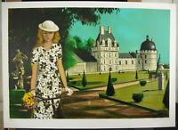 Robert Vernet-Bonfort Signed num17/250 Woman & Bicycle Castle Of Plessis-Bourré