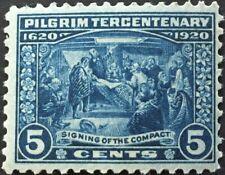Us Pilgrim Tercentenary Issue (1920) 5 Cents - Deep Blue - Scott #550 - Mnh