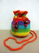 NE 03 KNIT CROCHET BAG S RAINBOW HANDICRAFT SLING SHOULDER HOBO WEAVE CROSSBODY