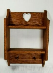 "Vintage 2 Tier Shelf Oak Wood Wall Hang Knick Knack Mini Figurine Display 10""h"