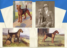 AIREDALE TERRIER PACK OF 4 VINTAGE STYLE DOG PRINT GREETINGS NOTE CARDS