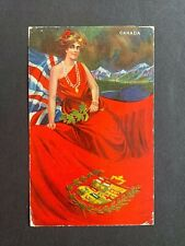 1908 CANADA PATRIOTIC PRIVATE POSTCARD ! STAMP BRANTFORD ONT > GB ! WOMAN FLAG !