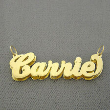 Personalized Solid 10K Gold Double Plate Name Pendant Necklace Jewelry ND03