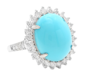 12.30 Carats Natural Turquoise and Diamond 14K Solid White Gold Ring