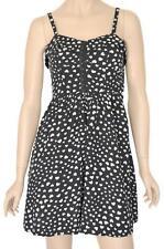 DOTTI SZ 10 WOMENS Black & White Love Hearts Print Cut Out Short Strap Dress