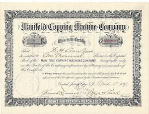Stk Manifold Copying Machine Co. 1891 #8 Jersey City, NJ 1000 shares