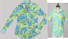 Lilly Pulitzer Jonni Turquoise Gator Alley Print Cotton Button Up Shirt Top 2