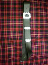 Black Leather Cross Belt For Pipe Major Highland Bagpipe Band Tips and Buckle