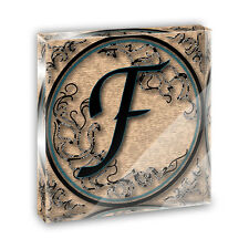 Vintage Letter F Initial Black Tan Acrylic Office Mini Desk Plaque Paperweight