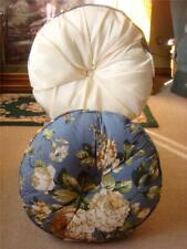 NEW SET OF 2 DECORATIVE BED/THROW PILLOW BLUE/TAN FLORAL & OFF-WHITE SATIN ROUND