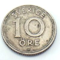 1920 Sweden Sverige Antique Ten 10 Ore Swedish Circulated Norwegian Coin G317