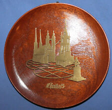 Wood brass wall decor plate cityscape