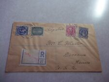 COOK ISLANDS Stamps On 1924 Registered Cover To USA Includes ONE HALF PENNY OVPT