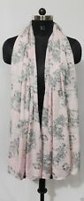 bufanda poliester floral rosa y gris FLORAL PATTERN PASTEL PINK POLYESTER SCARF