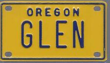 GLEN Yellow Oregon - Mini License Plate - Name Tag - Bicycle Plate!