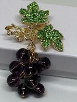 Grapes Beaded on a Branch With Green Crystals Vintage Gold Pin Brooch D-5636