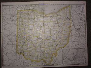 1890 Grand Carte ~ Ohio État Comté Railroad ~ Excellent État Rand Mcnally