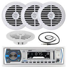 "4 White 5.25"" Marine Speakers, PLMRB29W White USB AM FM AUX Radio and Antenna"