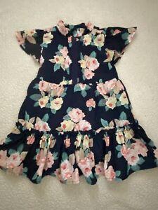 Janie and Jack girls navy blue dress with flowers size 2t
