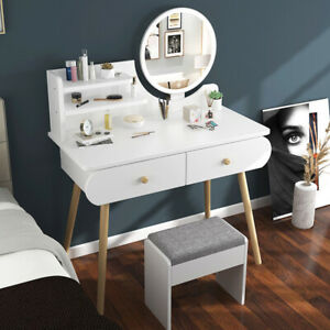 Modern Dressing Table Girl Women Makeup Cosmetic Storage Drawers w/ Wooden Legs