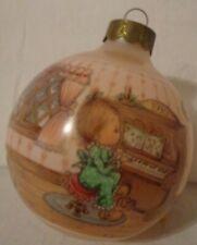 Vintage Hallmark Betsey Clark Christmas Ornament Glass Ball Pink 1990 Singing