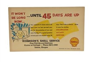 Shell Gasoline Station 45 Day Service Reminder Postcard Salem Oregon 1957
