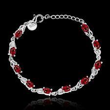 Women 925 Silver Ruby Chain Bracelet Fashion Jewelry Valentine's day Gift
