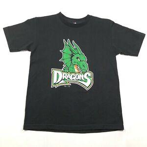 Dayton Dragons Youth Boys M Black T Tee Shirt Crew Neck Green Logo Name