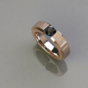 1 Ct Black Diamond Band in Sterling Silver With Rose Gold Finish AAA Certified